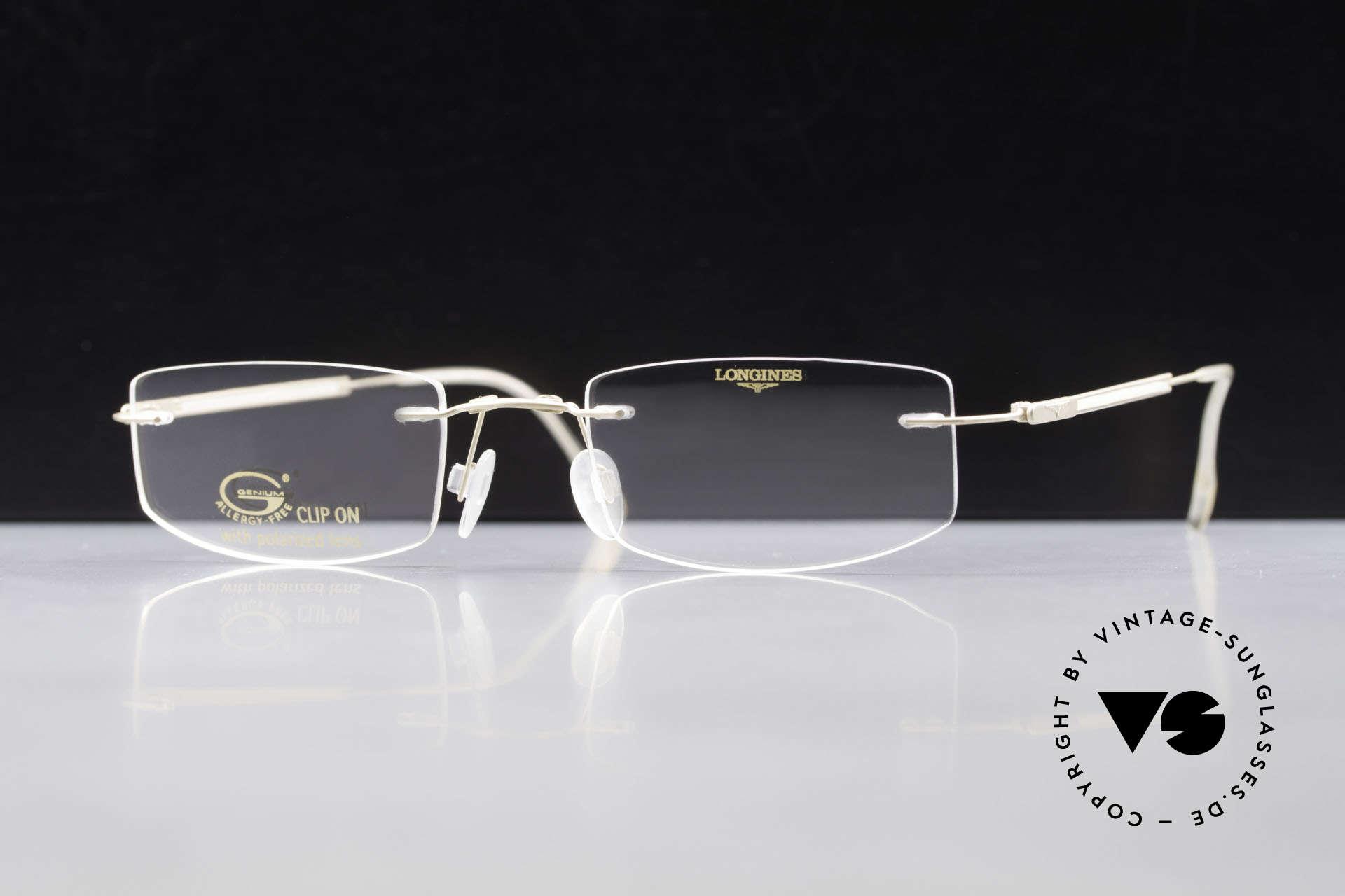 Longines 4378 Polarisierende Randlosbrille, Sonnen-Clip mit POLARisierenden Gläsern (100% UV), Passend für Herren und Damen