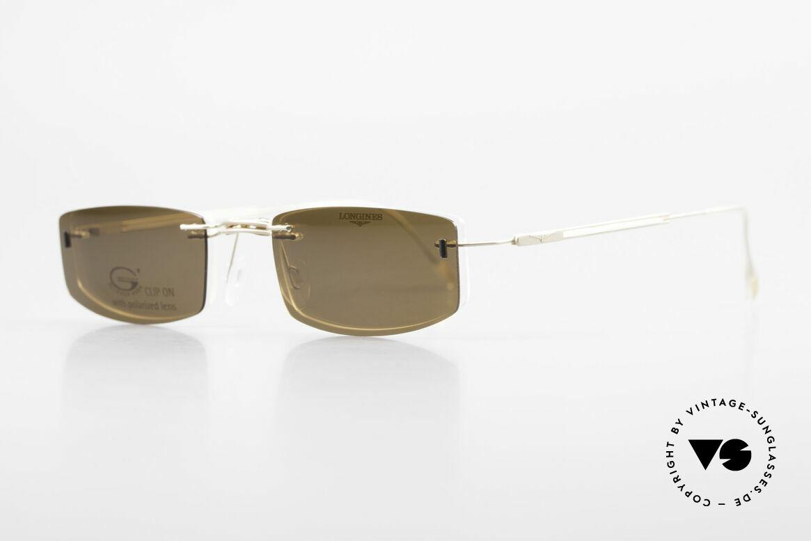 Longines 4378 Polarisierende Randlosbrille, die geflügelte Sanduhr als Longines-Logo auf den Bügeln, Passend für Herren und Damen