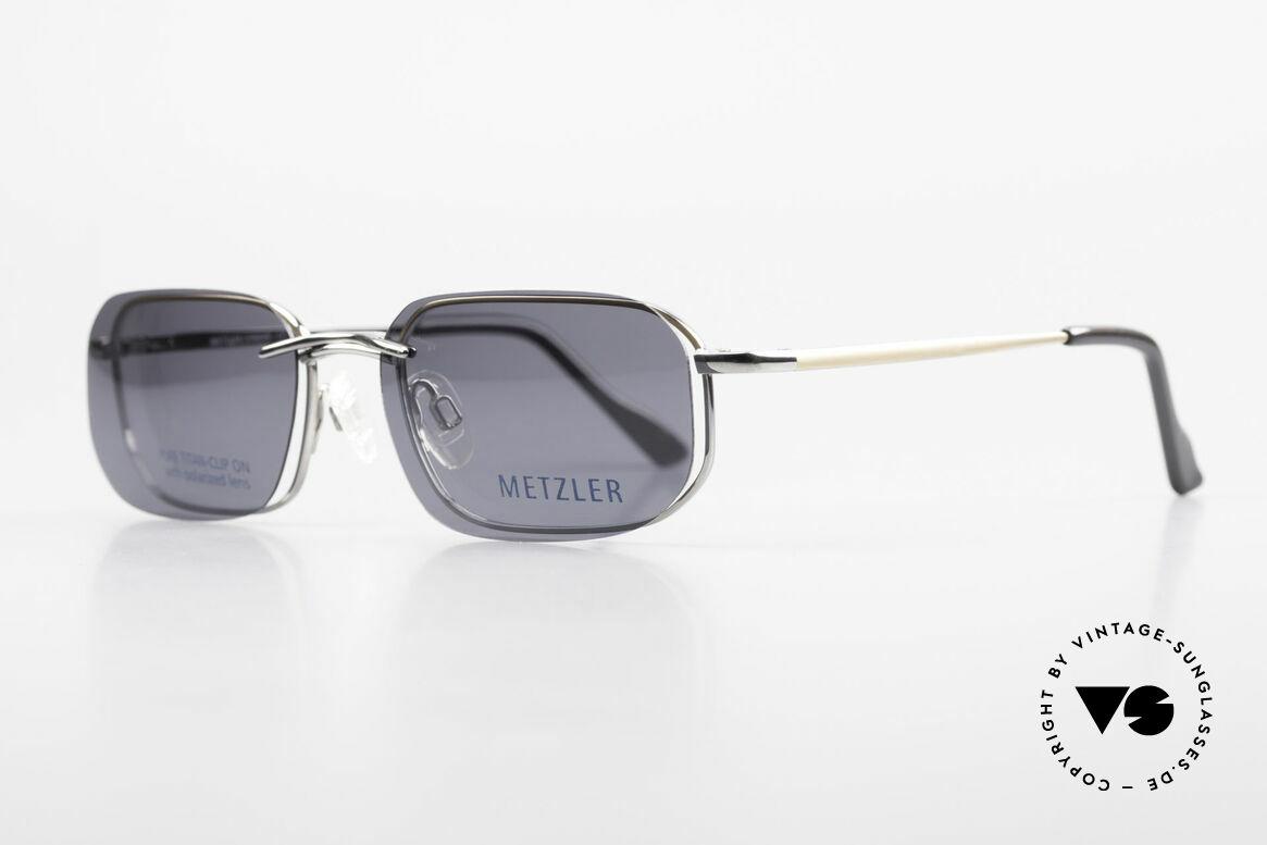 Metzler 1716 90er Titanbrille Polarisierend, Sonnen-Clip mit POLARisierenden Gläsern (100% UV), Passend für Herren