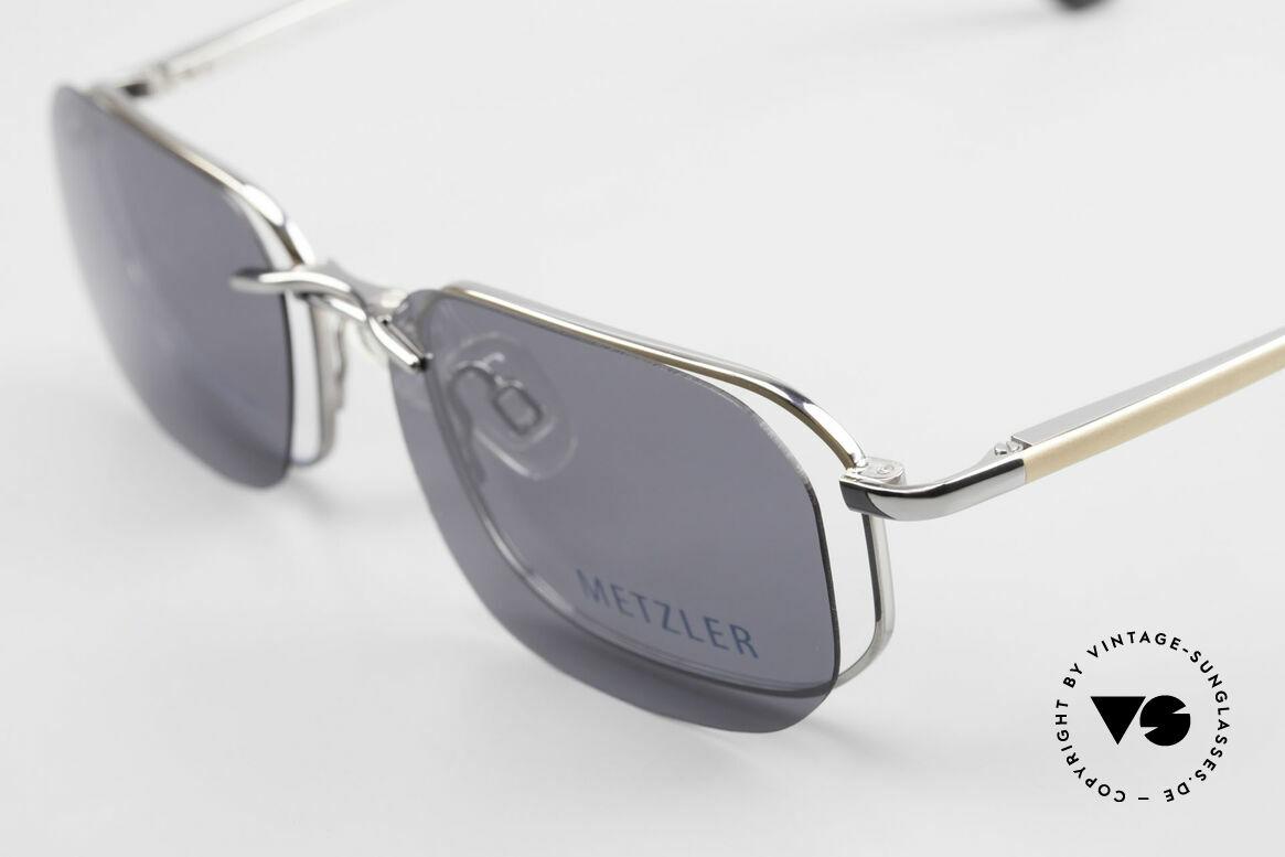 Metzler 1716 90er Titanbrille Polarisierend, ein Original aus den 90ern mit magnetischem Clip-On, Passend für Herren