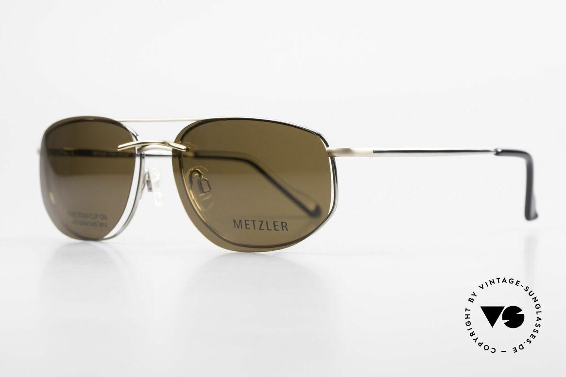 Metzler 1715 Titanbrille 90er Polarisierend, Sonnen-Clip mit POLARisierenden Gläsern (100% UV), Passend für Herren