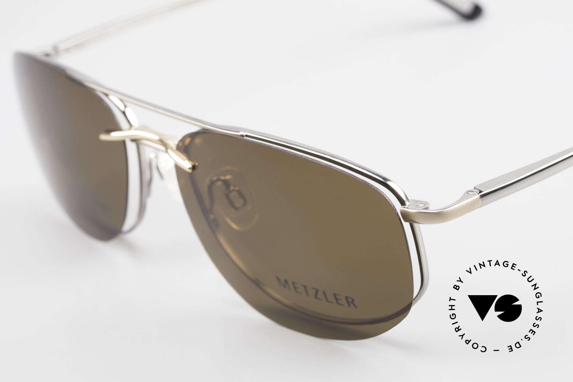 Metzler 1715 Titanbrille 90er Polarisierend, ein Original aus den 90ern mit magnetischem Clip-On, Passend für Herren