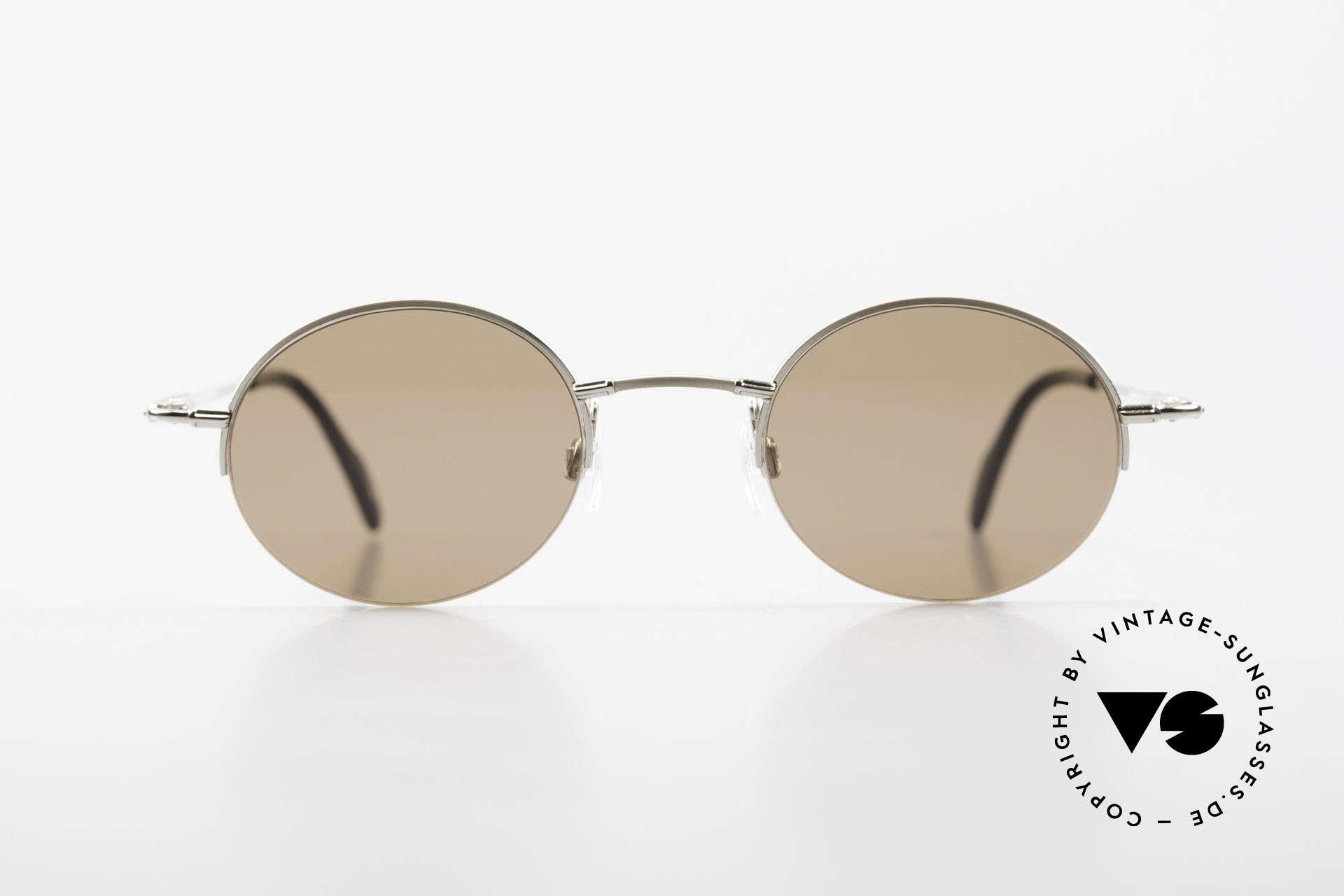 Longines 4363 Ovale Sonnenbrille 90er Rund, Nylor-Qualitätsfassung mit vielen kleinen Designdetails, Passend für Herren und Damen
