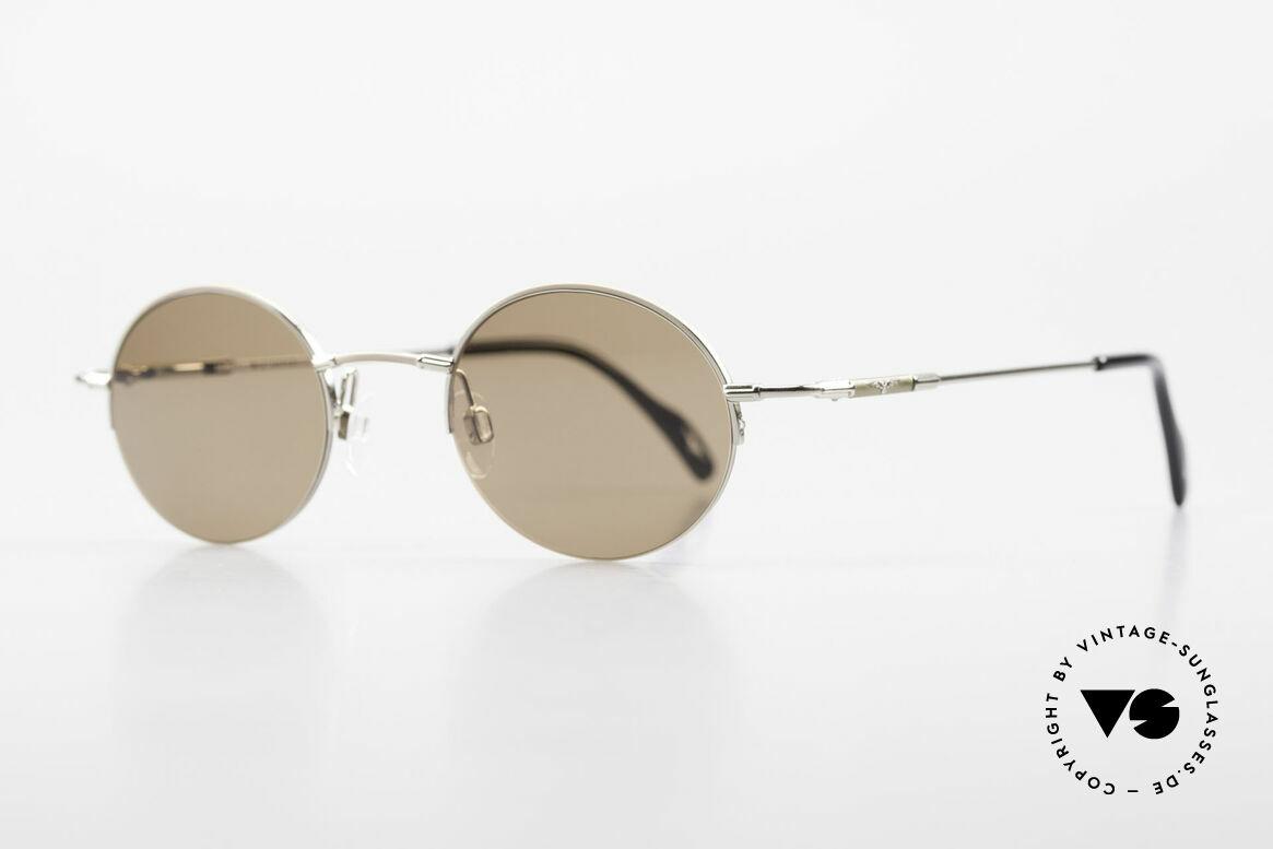 Longines 4363 Ovale Sonnenbrille 90er Rund, die geflügelte Sanduhr als Longines-Logo auf den Bügeln, Passend für Herren und Damen