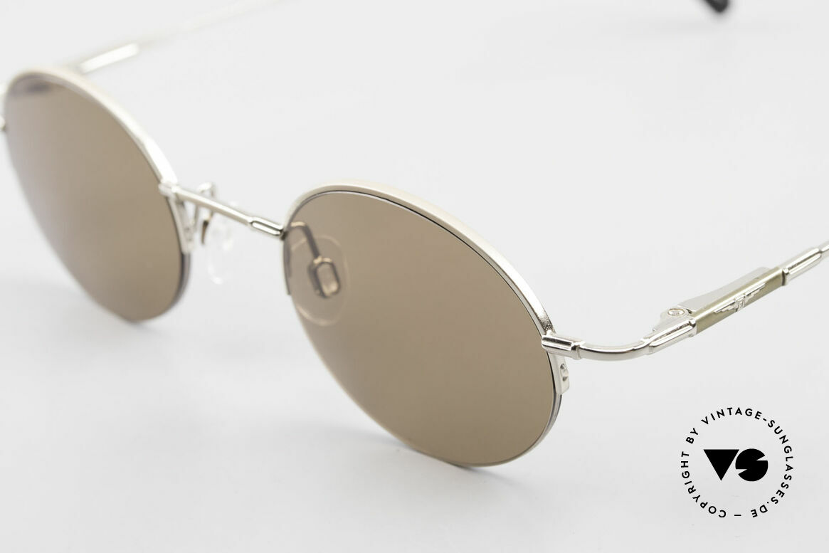 Longines 4363 Ovale Sonnenbrille 90er Rund, ein zeitloses altes Original in Kooperation mit Metzler, Passend für Herren und Damen