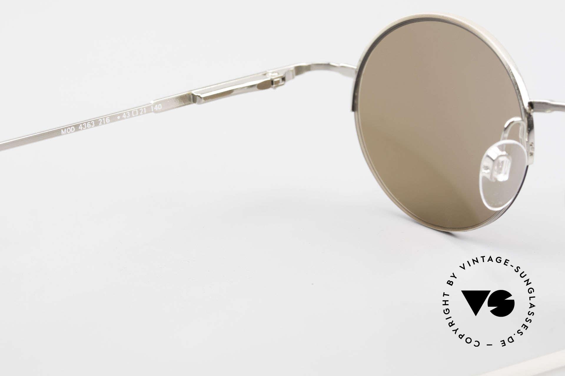 Longines 4363 Ovale Sonnenbrille 90er Rund, Sonnengläser (100% UV) können ggf. getauscht werden, Passend für Herren und Damen