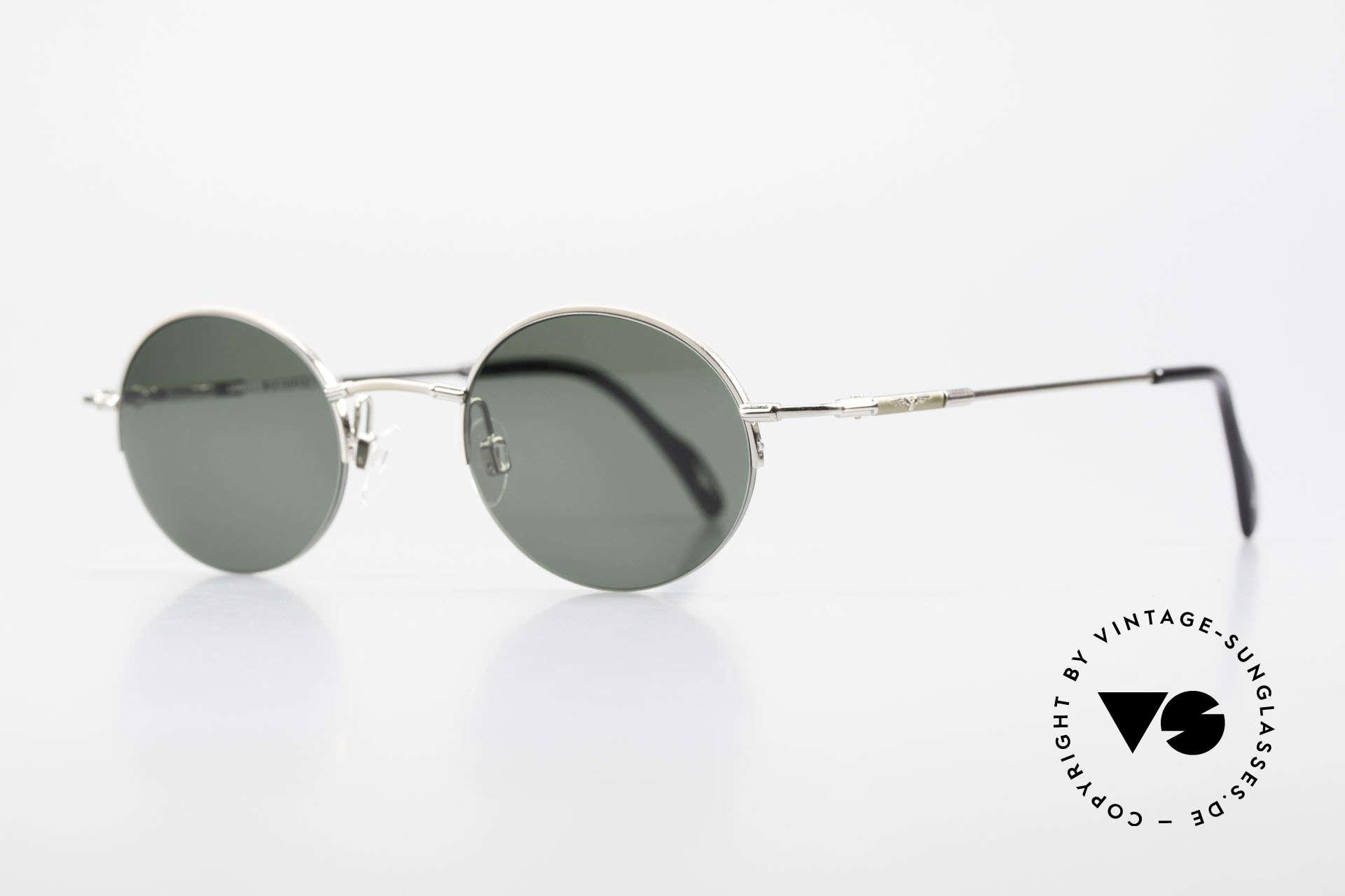 Longines 4363 Rund Ovale Sonnenbrille 90er, die geflügelte Sanduhr als Longines-Logo auf den Bügeln, Passend für Herren und Damen