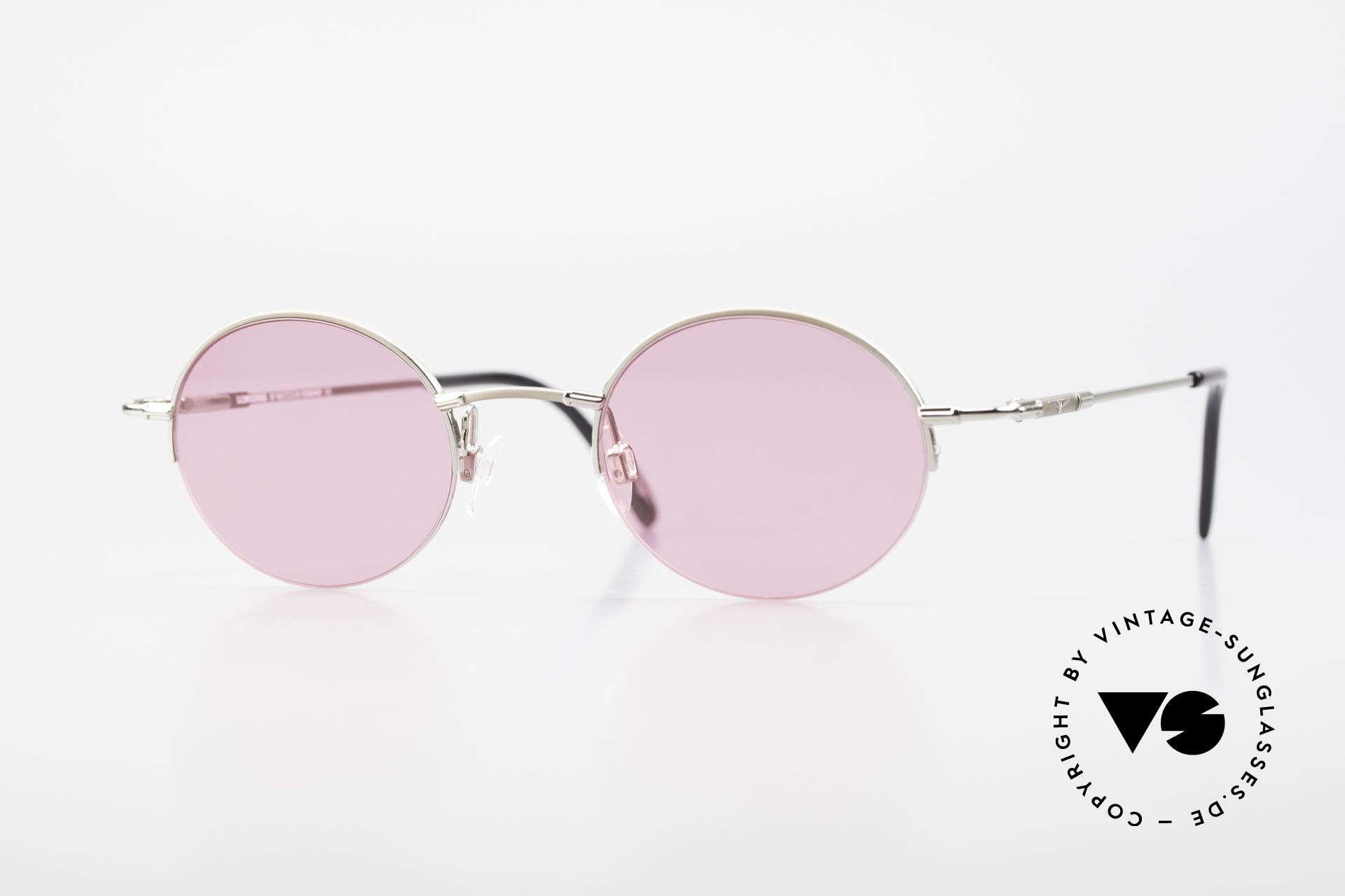 Longines 4363 Pinke Sonnenbrille 90er Oval, rund-ovale Longines Sonnenbrille aus den 90er Jahren, Passend für Herren und Damen