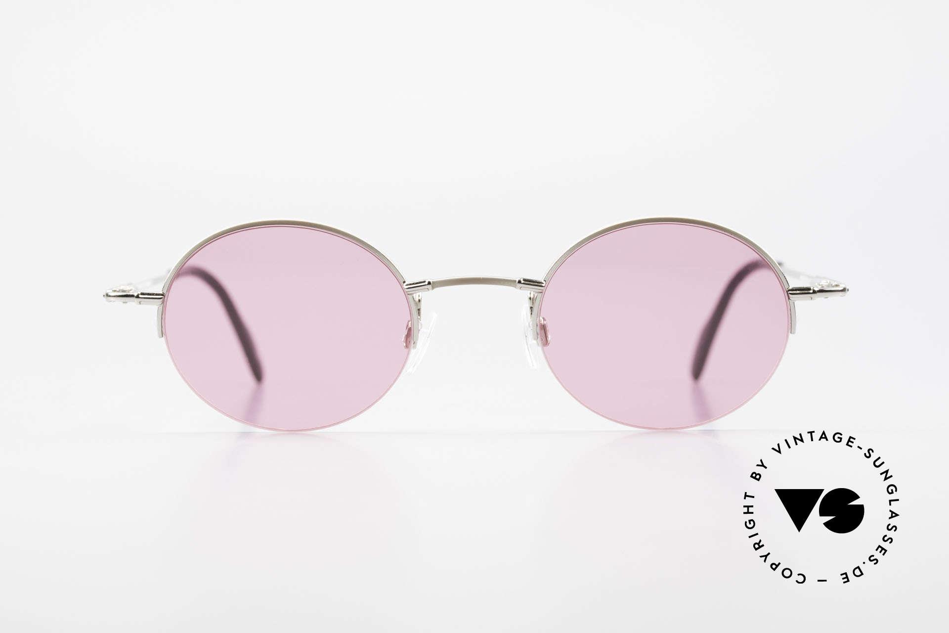 Longines 4363 Pinke Sonnenbrille 90er Oval, Nylor-Qualitätsfassung mit vielen kleinen Designdetails, Passend für Herren und Damen