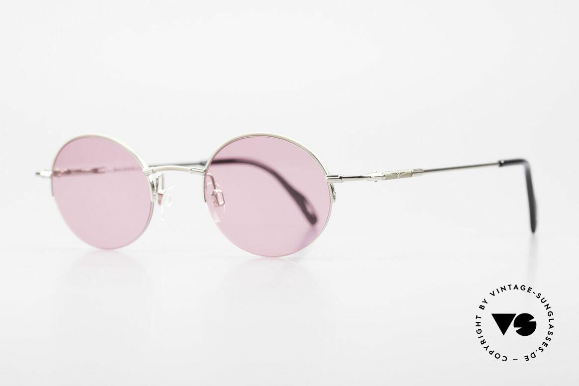 Longines 4363 Pinke Sonnenbrille 90er Oval, die geflügelte Sanduhr als Longines-Logo auf den Bügeln, Passend für Herren und Damen