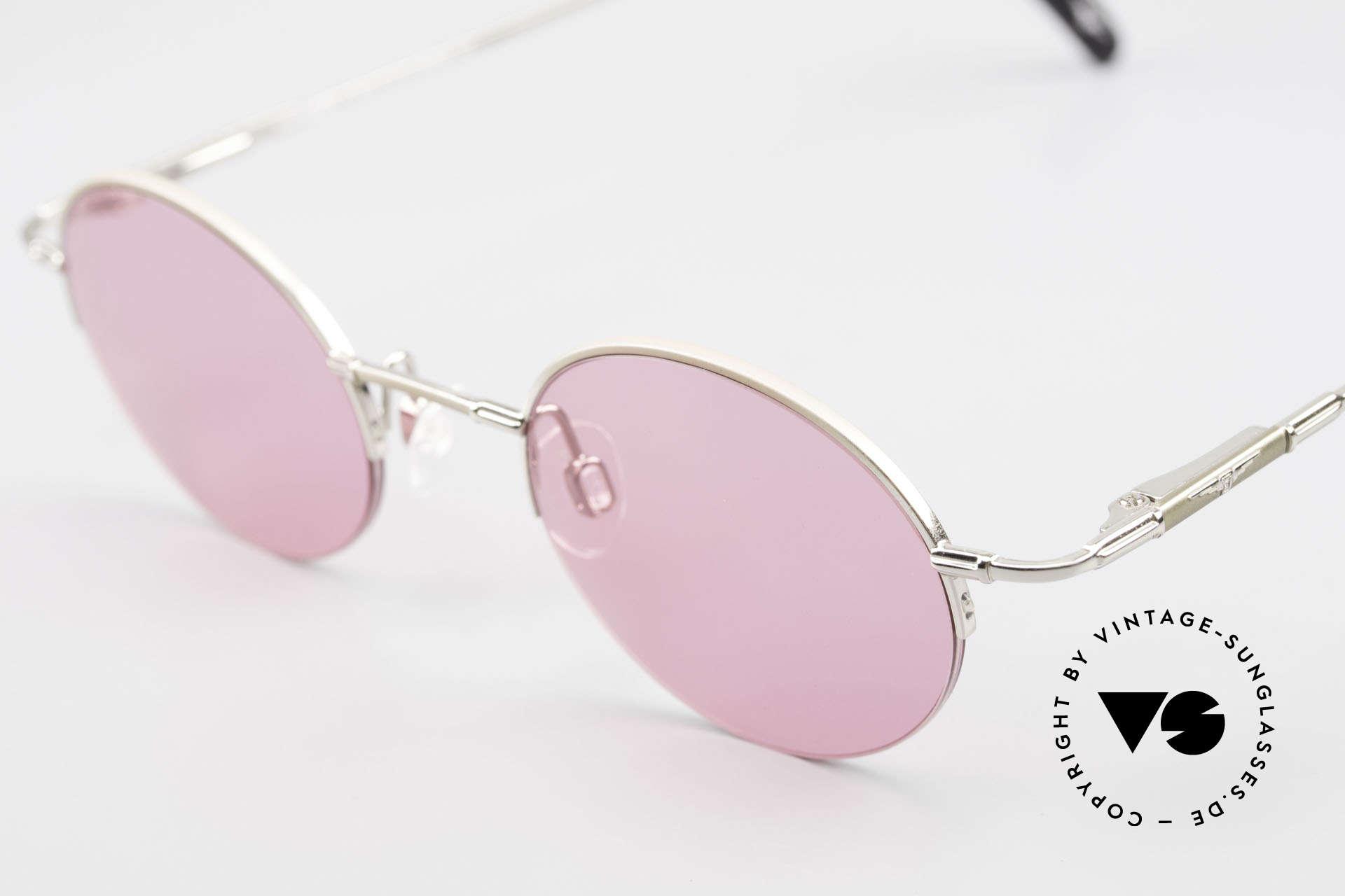 Longines 4363 Pinke Sonnenbrille 90er Oval, ein zeitloses altes Original in Kooperation mit Metzler, Passend für Herren und Damen