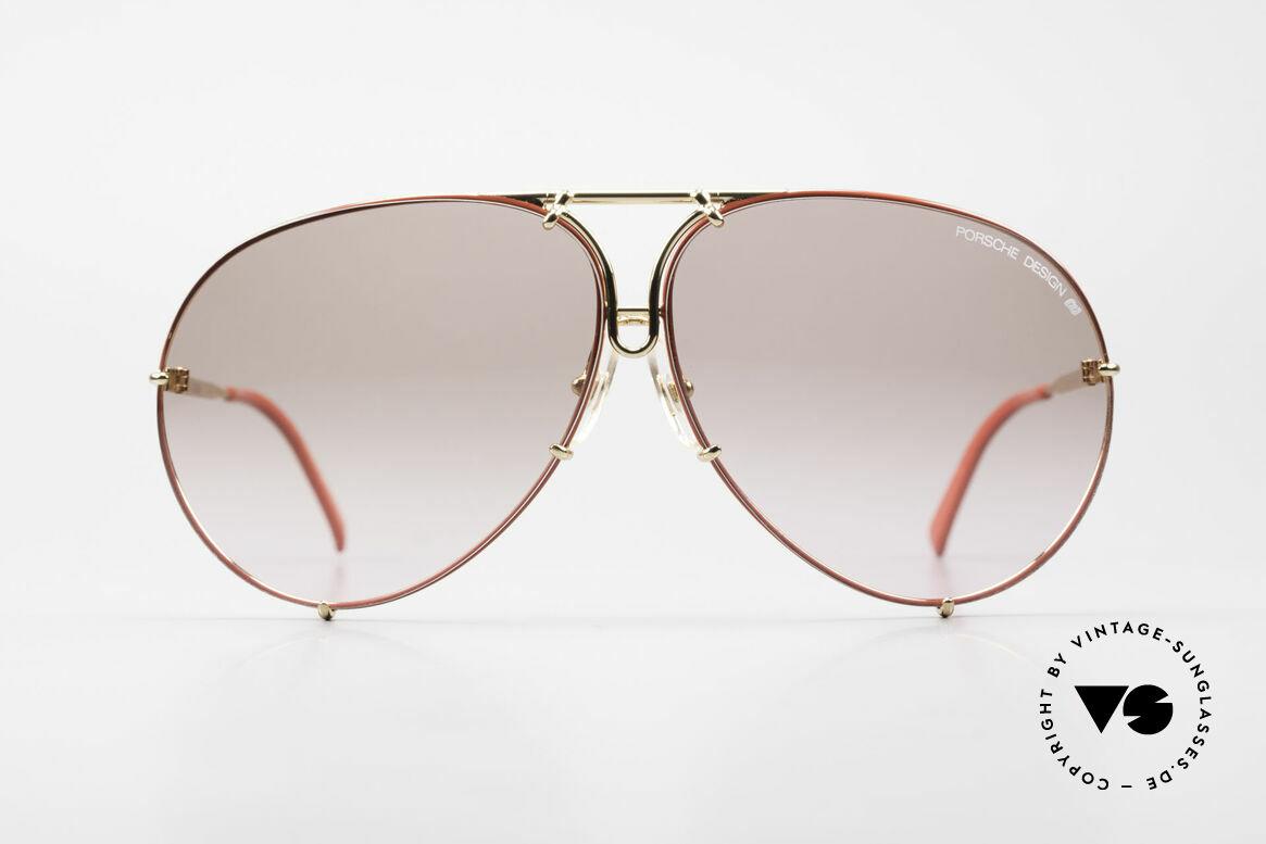 Porsche 5621 Rare 80er Brille Sonderedition, Sonder-Edition: vergoldet mit roter Glaseinfassung, Passend für Herren und Damen