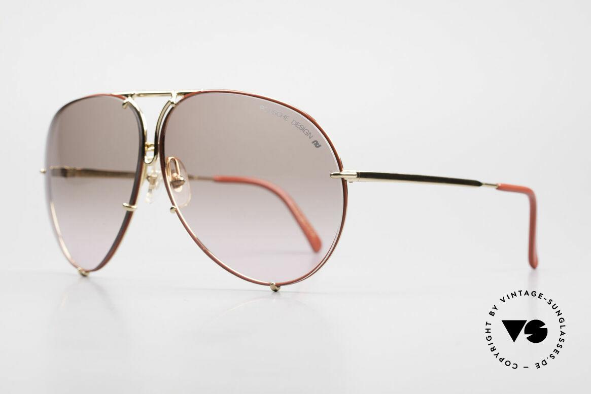 Porsche 5621 Rare 80er Brille Sonderedition, 2 Paar Wechselgläser: rot-Verlauf & grau-einfarbig, Passend für Herren und Damen
