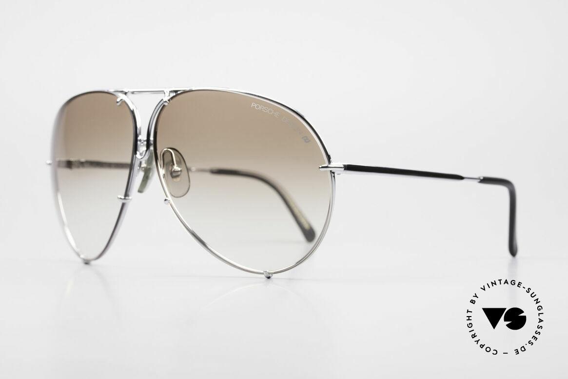 Porsche 5621 80er Brillenklassiker Herren, 2 Paar Wechselgläser: braun-Verlauf & grau-einfarbig, Passend für Herren