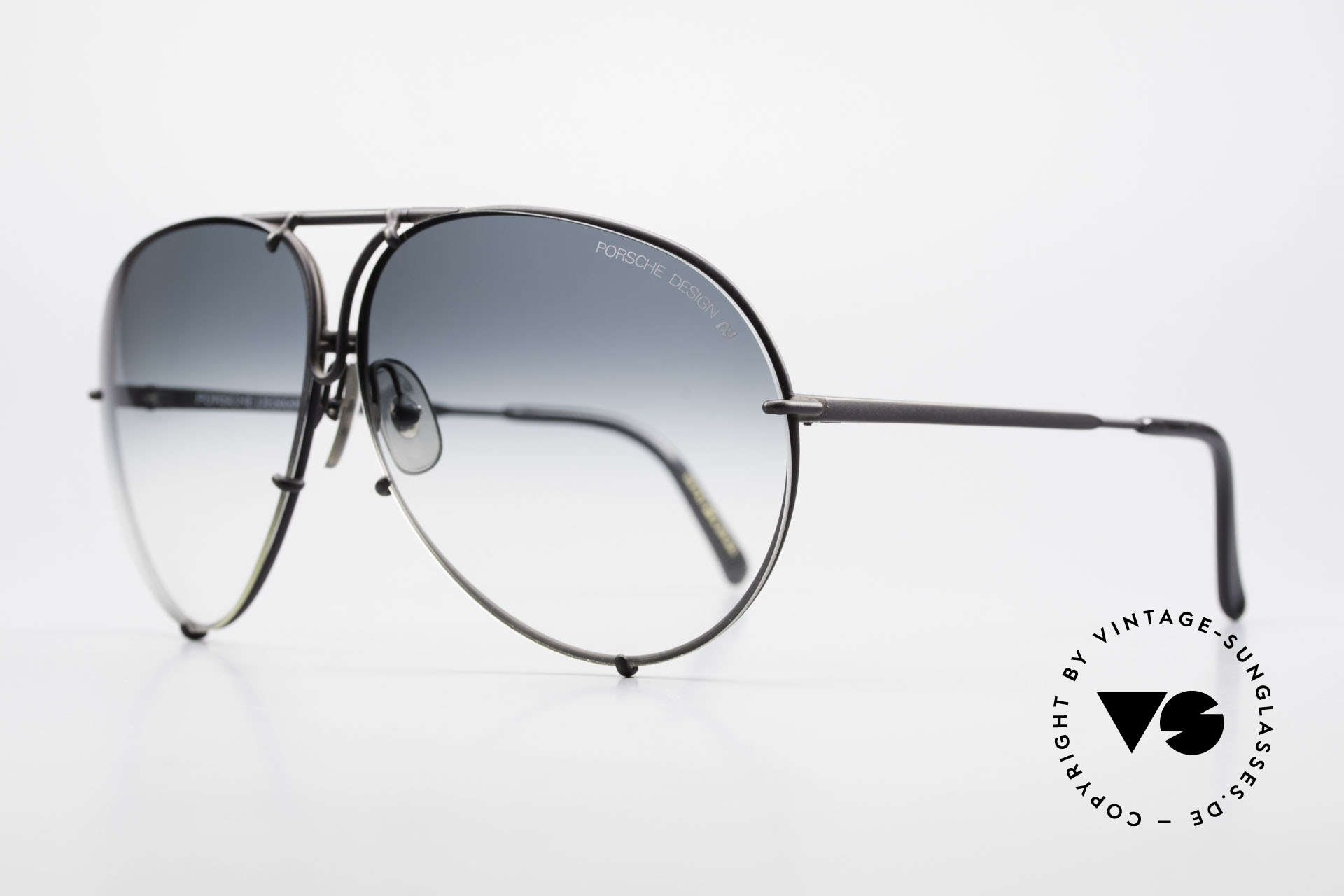 Porsche 5621 Alte 80er Aviator Sonnenbrille, 2 Paar Wechselgläser: grün-Verlauf & grau-einfarbig, Passend für Herren