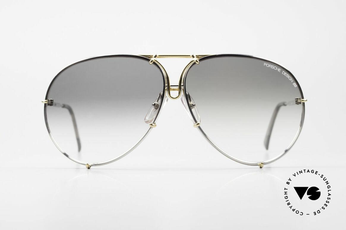 Porsche 5621 1980er Sonnenbrille Bicolor, echter SonnenbrillenKlassiker in bicolor (gold/silber), Passend für Herren