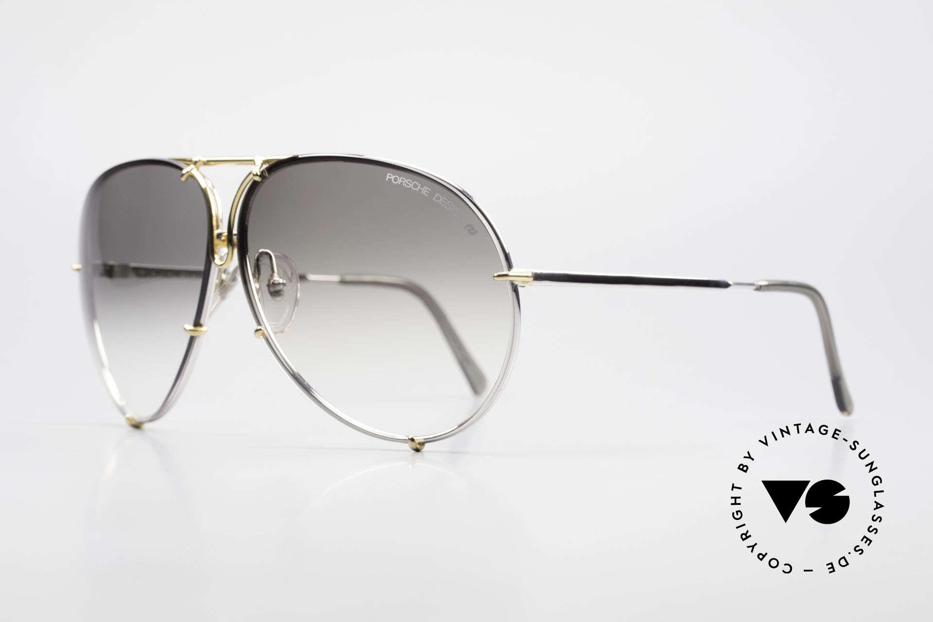 Porsche 5621 1980er Sonnenbrille Bicolor, 2 Paar Wechselgläser: grün/grau-Verlauf und 1x grau, Passend für Herren