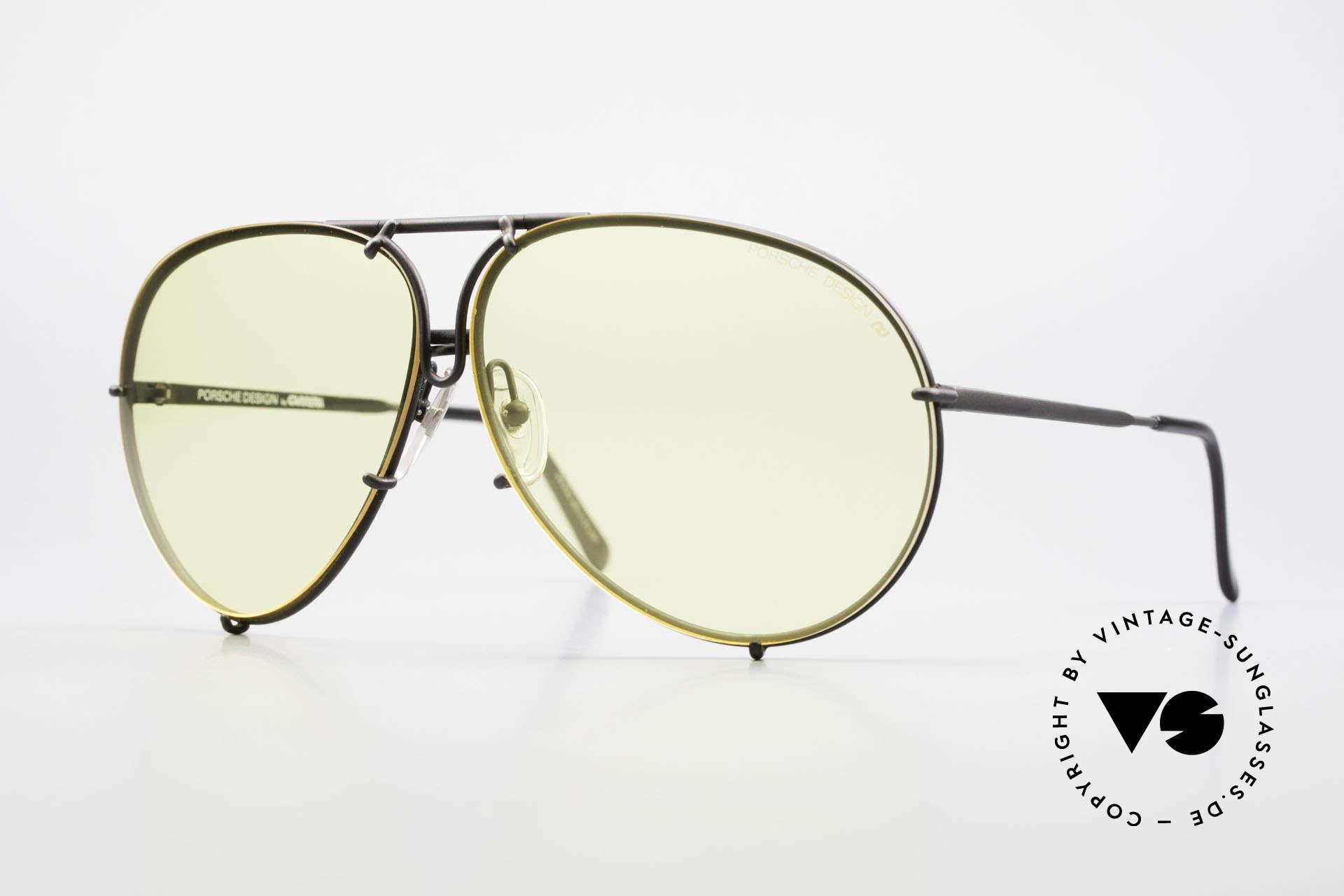 Porsche 5621 Gelbe Gläser Kalichrome 80er, alte 80er Porsche Brille mit grauen Wechselgläsern, Passend für Herren