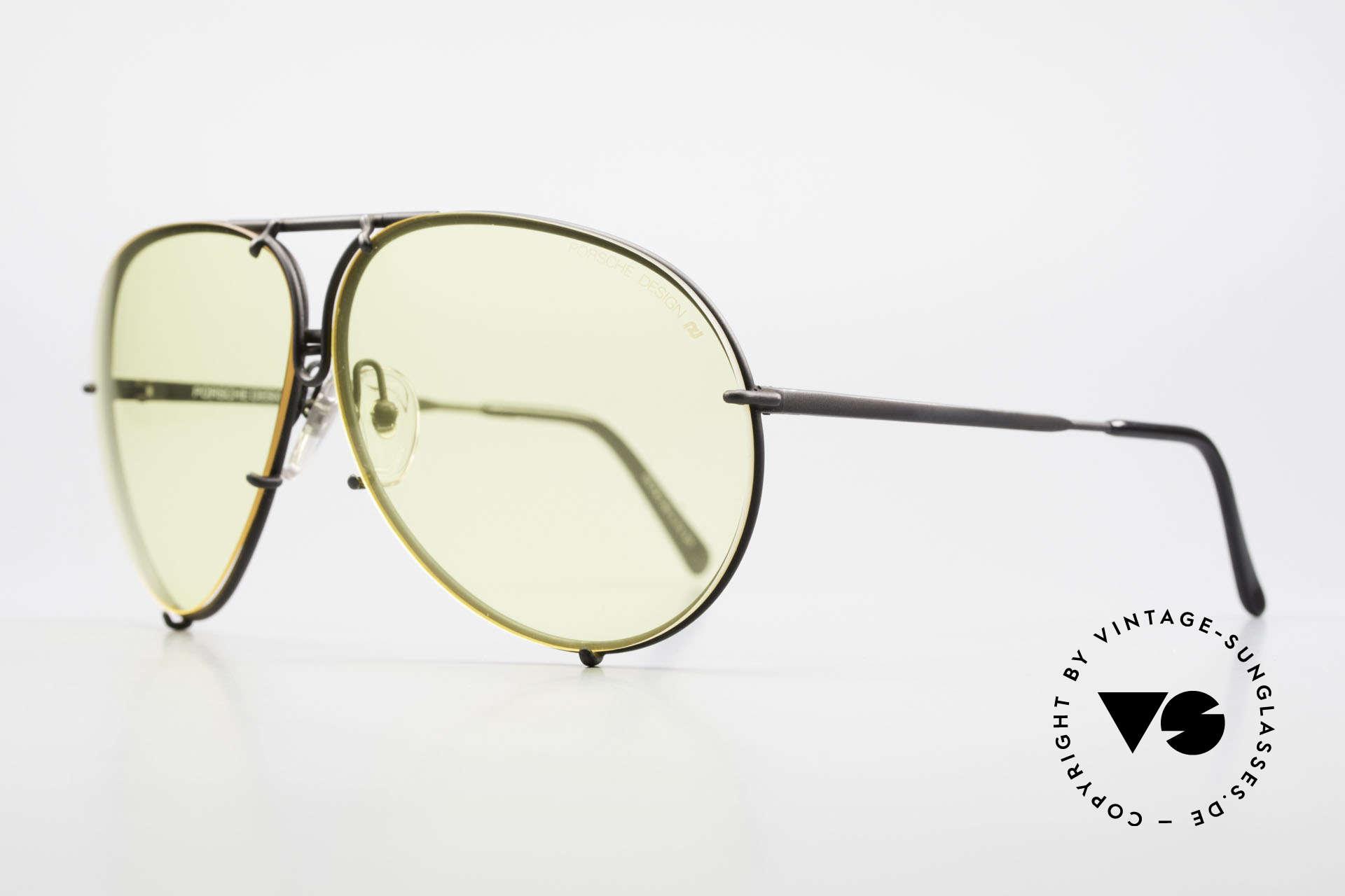 Porsche 5621 Gelbe Gläser Kalichrome 80er, kostbare hellgelbe KALICHROME Gläser (für abends), Passend für Herren