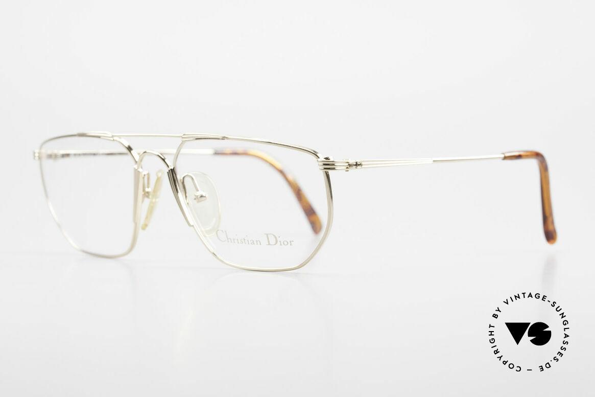 Christian Dior 2819 Echte 90er Herren Metallbrille, vergoldeter Rahmen mit dezenten goldenen Streifen, Passend für Herren