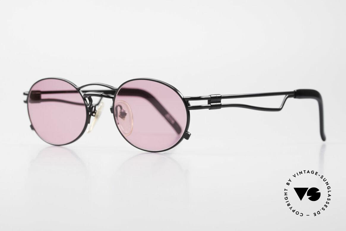 Jean Paul Gaultier 56-3173 Pinke Ovale Vintage Brille, leichtes Metall, ergonomische Bügelform; made in Japan, Passend für Herren und Damen