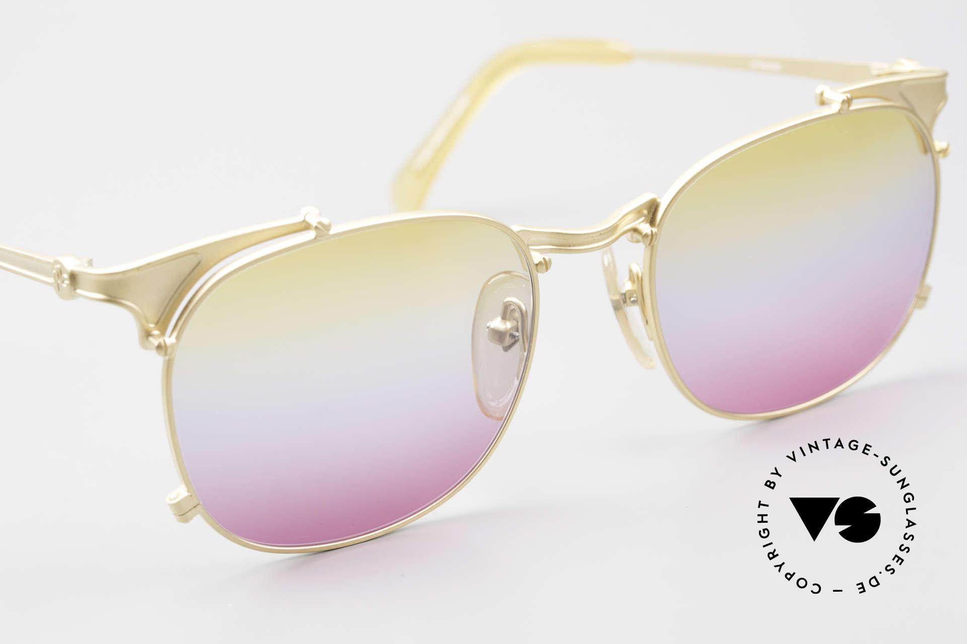 Jean Paul Gaultier 56-2175 Gläser in gelb pink Verlauf, unbenutzt (wie alle unsere 1990er Sonnenbrillen), Passend für Herren und Damen