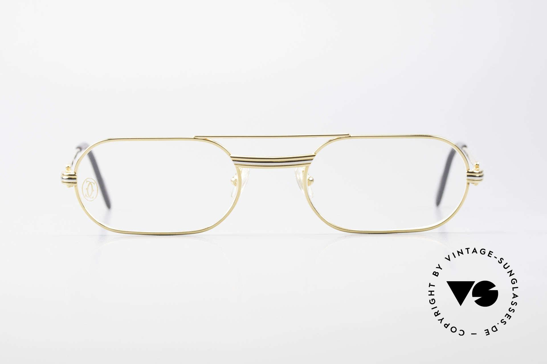 Cartier MUST LC Rose - S Limitierte Rosé Gold Brille, hier mit Louis Cartier Dekor in S Größe 53°20, 130, Passend für Herren und Damen