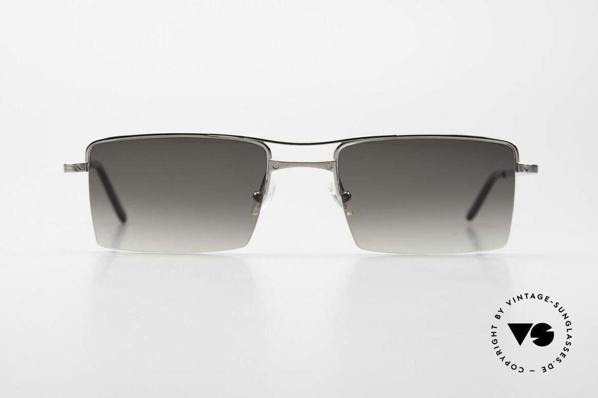 Cartier Semi T-Double Eckige Titanium Sonnenbrille, eckige CARTIER Luxus-Sonnenbrille; Titanium, Passend für Herren