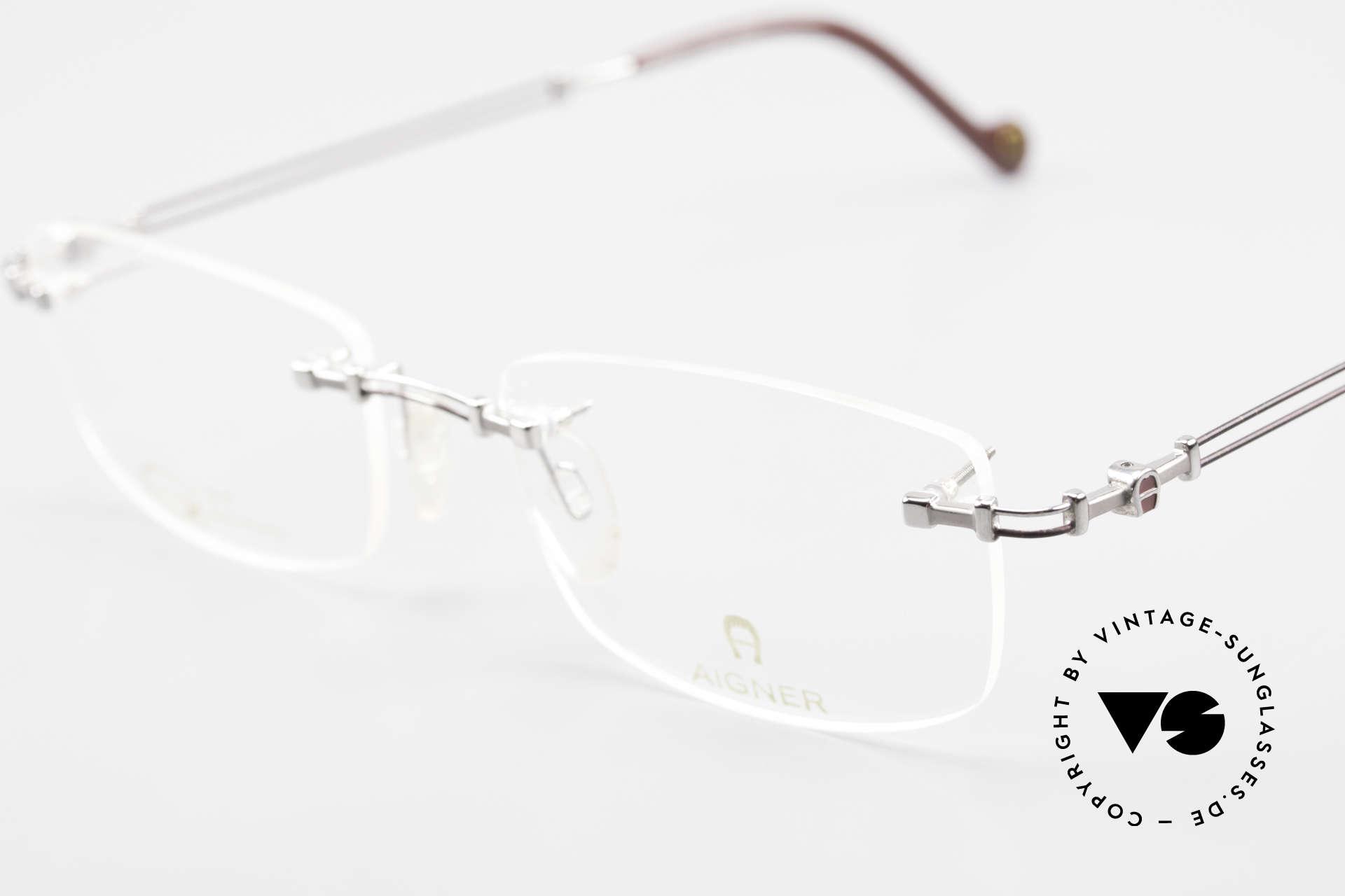 Aigner EA498 Randlose Vintage Brille 90er, allergiefrei & teils 18kt vergoldet (angenehm zu tragen), Passend für Herren und Damen