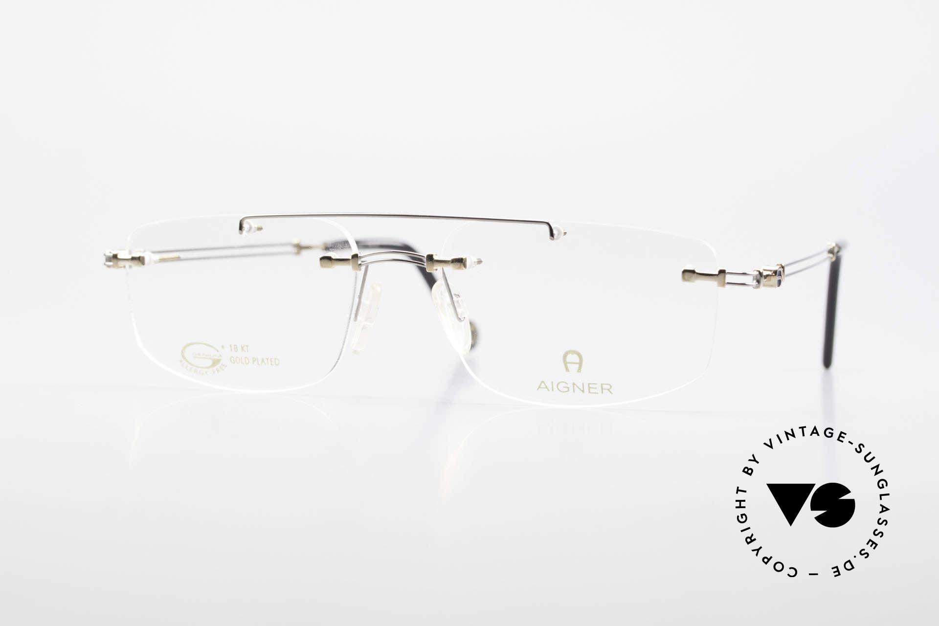 Aigner EA499 Randlose Vintage Brille Herren, randlose Aigner VINTAGE Brille, EA499, Gr. 54/18, 140, Passend für Herren