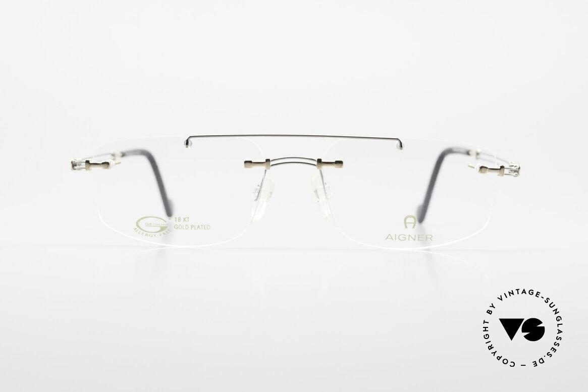 Aigner EA499 Randlose Vintage Brille Herren, eine 90er Aigner Originalbrille in Metzler Kooperation, Passend für Herren