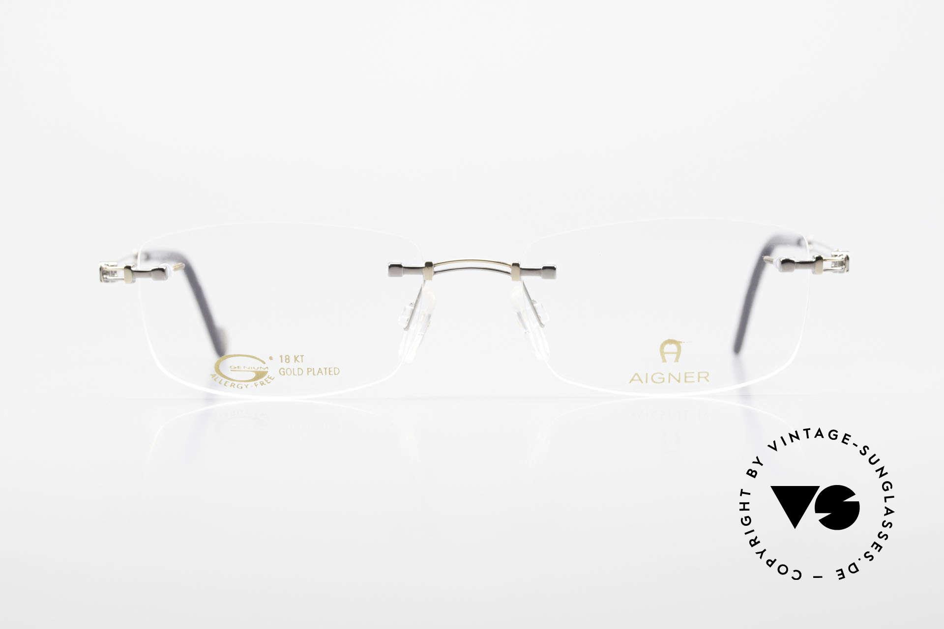 Aigner EA498 Randlose 90er Brille Unisex, eine 90er Aigner Originalbrille in Metzler Kooperation, Passend für Herren und Damen