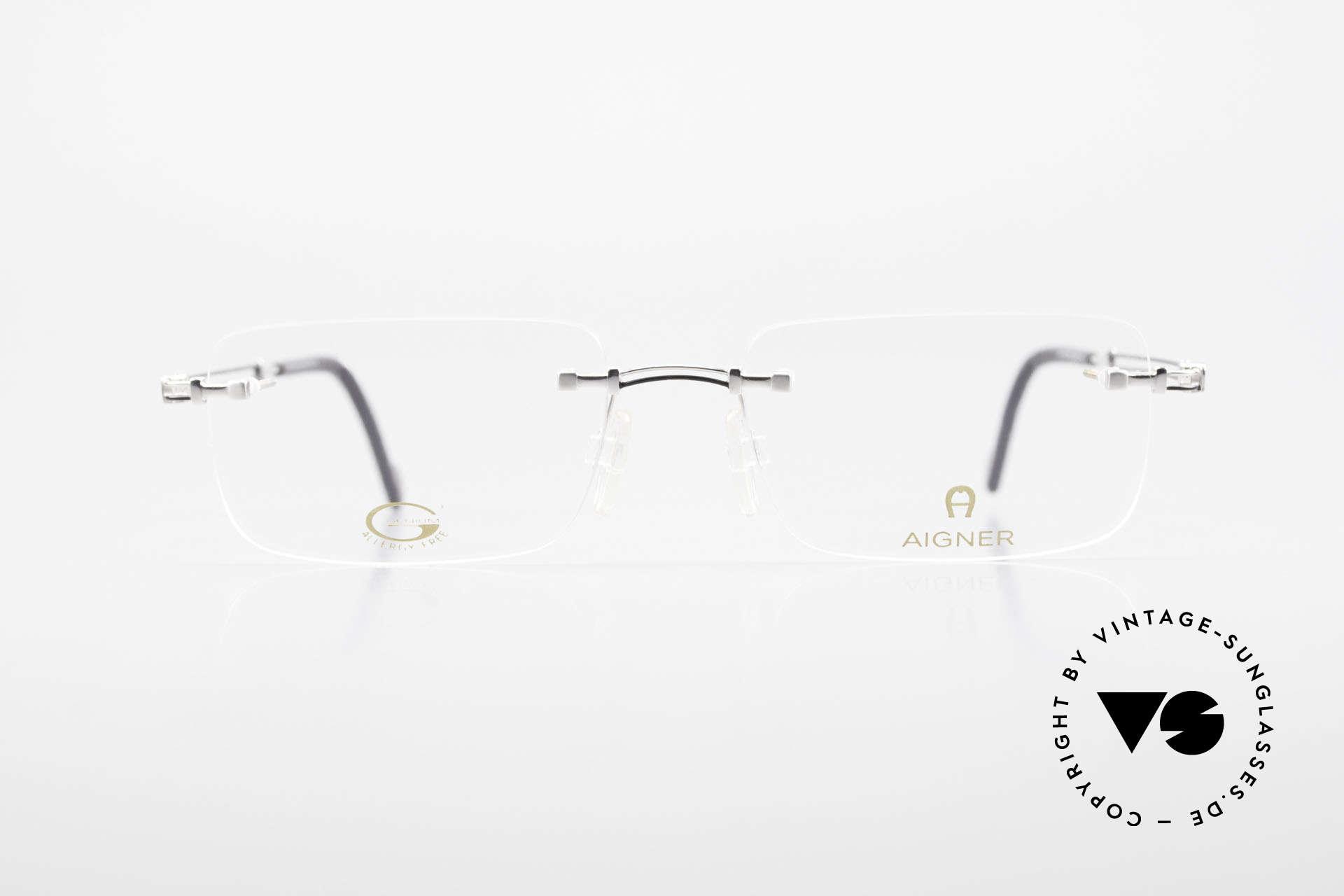 Aigner EA496 Randlose 90er Vintage Brille, eine 90er Aigner Originalbrille in Metzler Kooperation, Passend für Herren