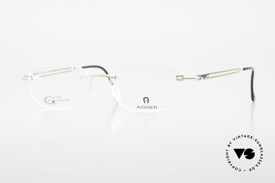Aigner EA113 Vintage 90er Randlosbrille, randlose Aigner VINTAGE Brille, EA113, Gr. 54/17, 140, Passend für Herren und Damen