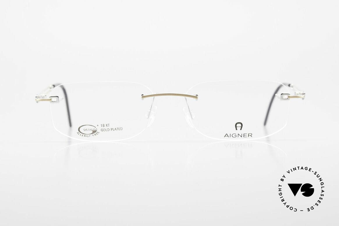 Aigner EA113 Vintage 90er Randlosbrille, eine 90er Aigner Originalbrille in Metzler Kooperation, Passend für Herren und Damen