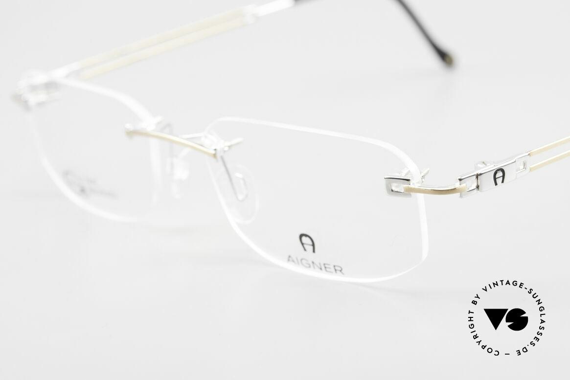 Aigner EA113 Vintage 90er Randlosbrille, allergiefrei & teils 18kt vergoldet (angenehm zu tragen), Passend für Herren und Damen