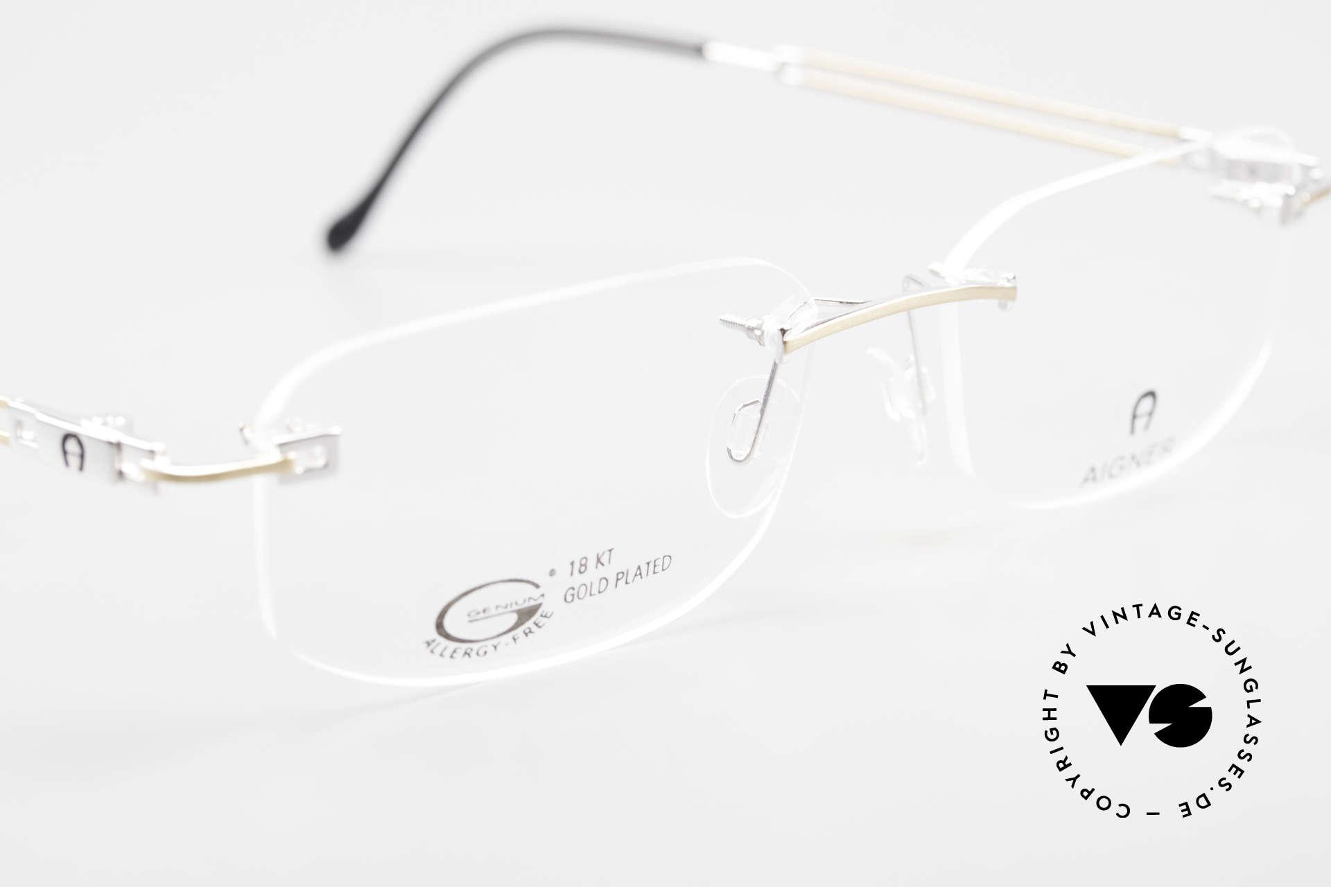 Aigner EA113 Vintage 90er Randlosbrille, KEINE RETROBRILLE, ein circa 25 Jahre altes ORIGINAL, Passend für Herren und Damen
