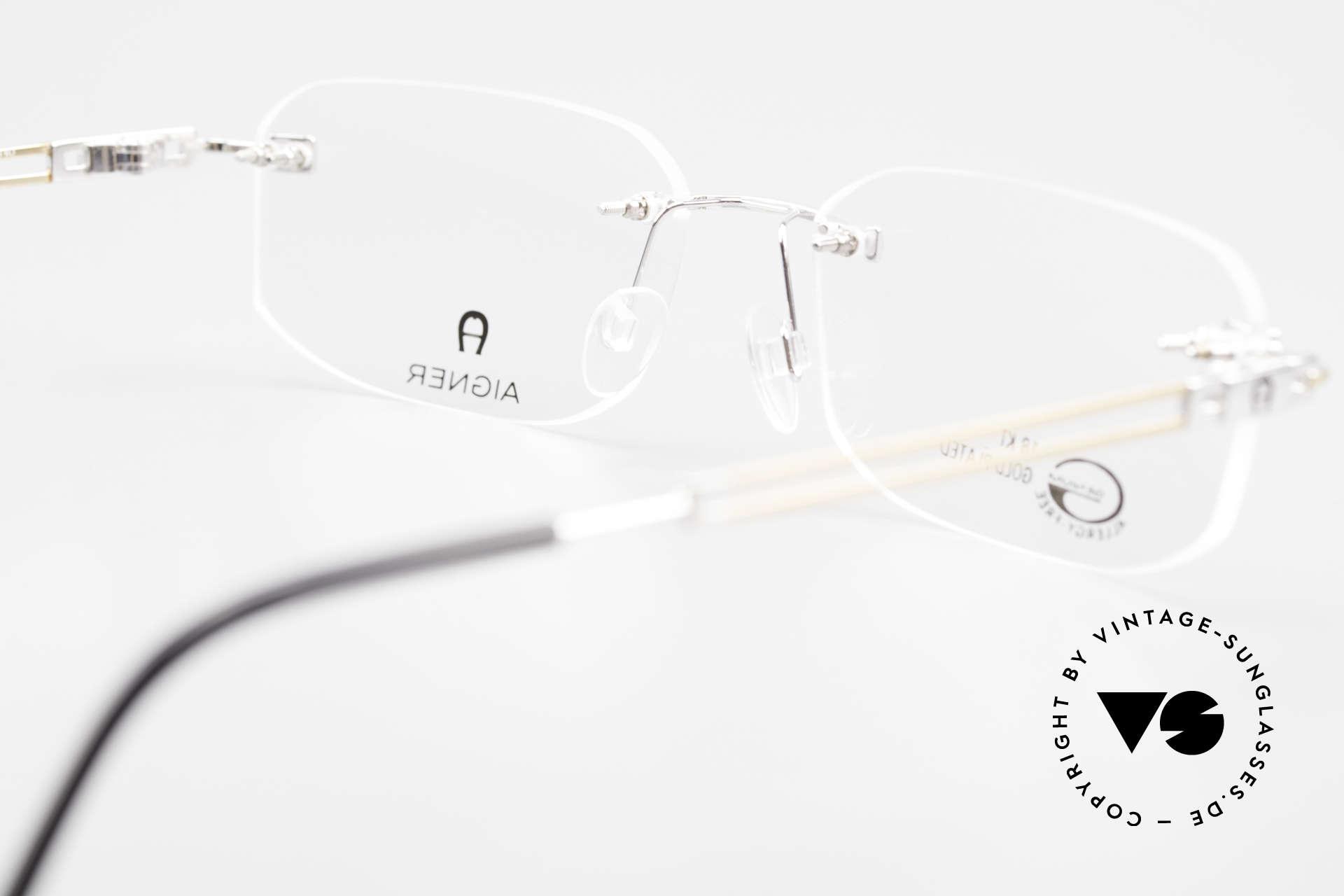 Aigner EA113 Vintage 90er Randlosbrille, Größe: large, Passend für Herren und Damen