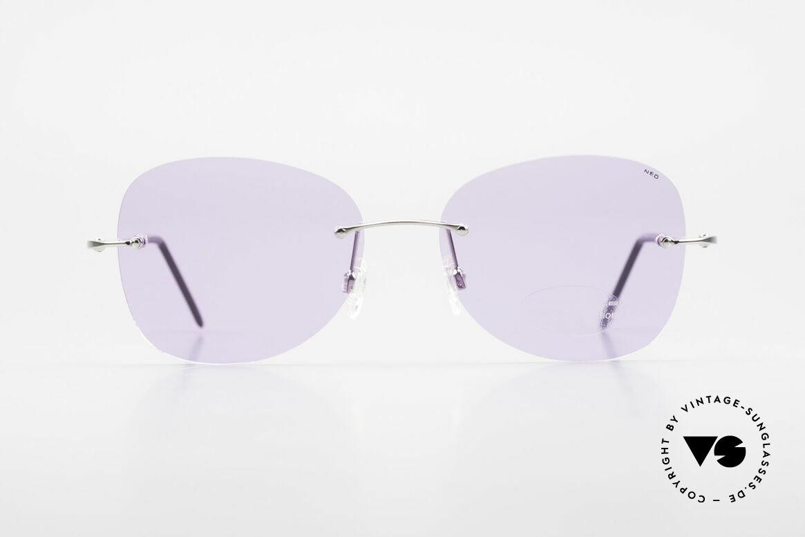 Neostyle Holiday 2051 Randlose Sonnenbrille Damen, silberne Fassung mit violetten Gläsern, ein Hingucker, Passend für Damen