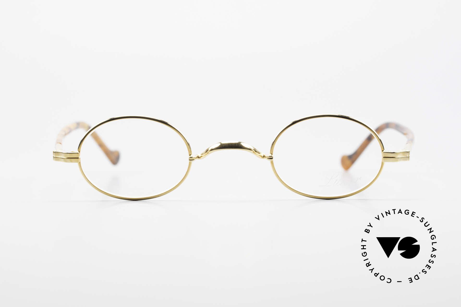 Lunor II A 04 Extra Kleine Brille Oval Vintage, Vollrand-Metallfassung mit eleganten Acetat-Bügeln, Passend für Herren und Damen