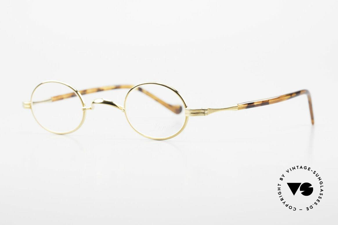 Lunor II A 04 Extra Kleine Brille Oval Vintage, sehr schlichte Form mit W-Steg und 22kt VERGOLDET, Passend für Herren und Damen
