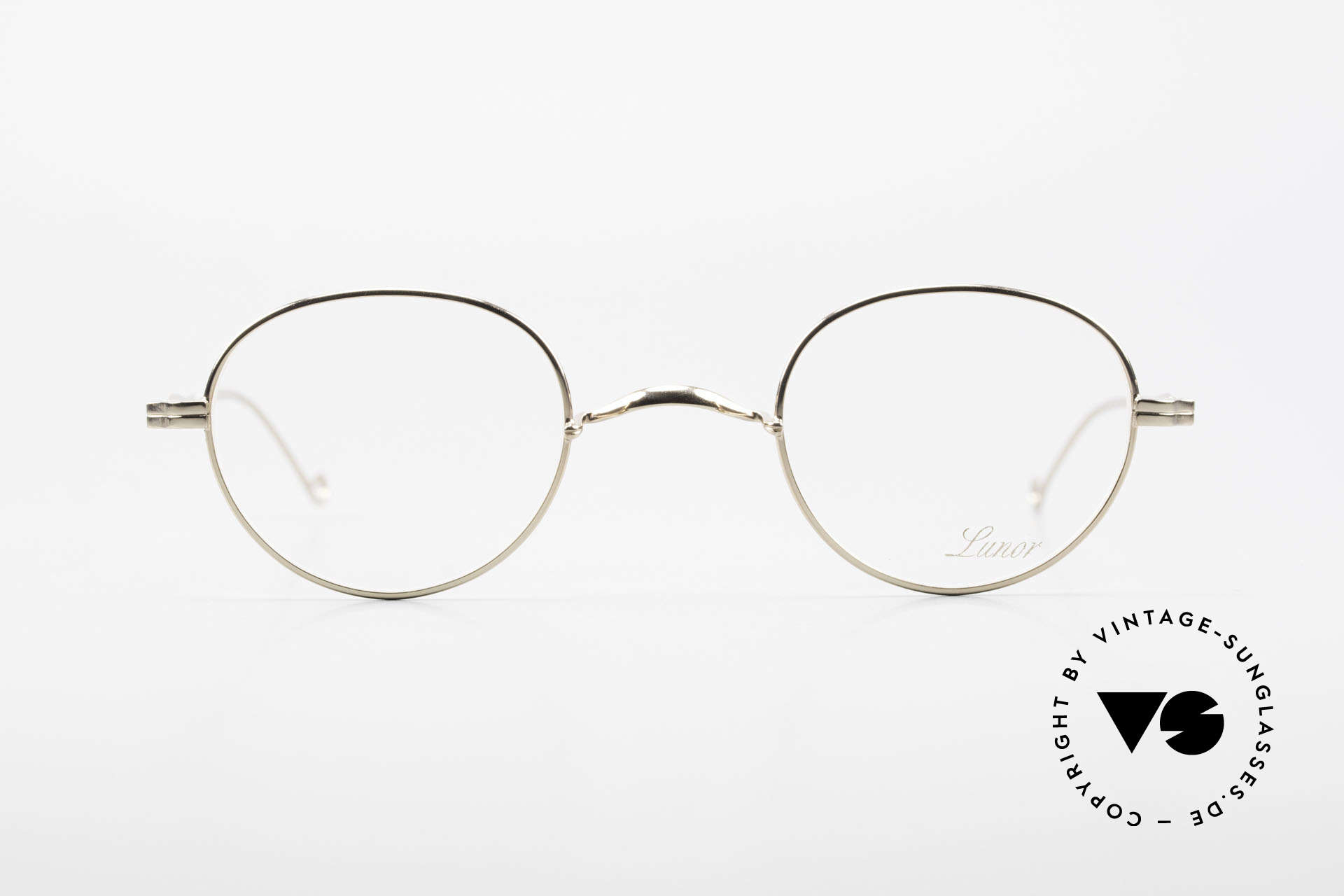 Lunor II 22 Lunor Brille Vergoldet Panto, Vollrand-Metallfassung mit hochwertigem Schutzlack, Passend für Herren und Damen
