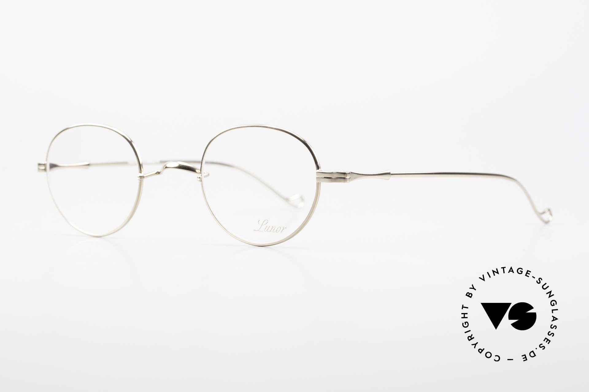 Lunor II 22 Lunor Brille Vergoldet Panto, sehr schlichte Form mit W-Steg; 22kt VERGOLDET!, Passend für Herren und Damen