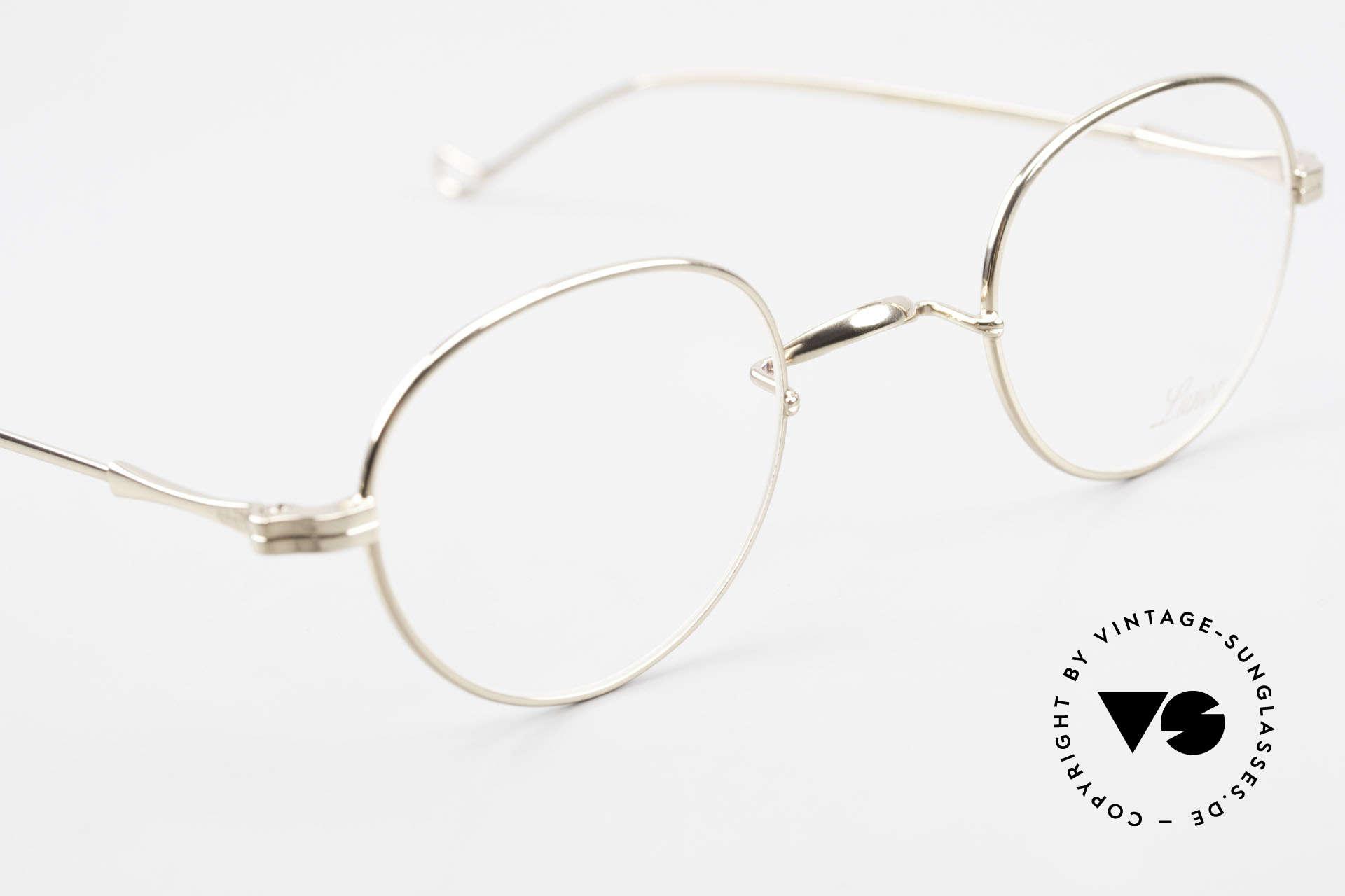 Lunor II 22 Lunor Brille Vergoldet Panto, altes, ungetragenes LUNOR Einzelstück von ca. 1998, Passend für Herren und Damen