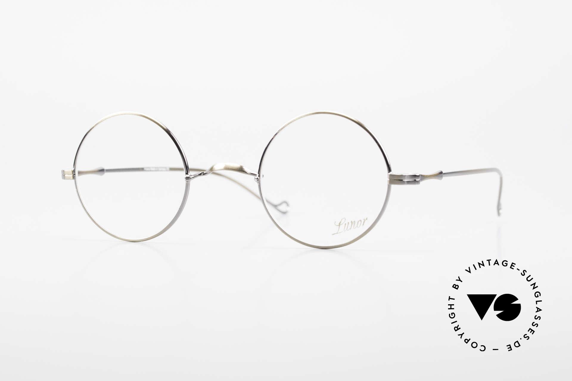 """Lunor II 23 Runde Lunor Brille Antik Gold, runde Lunor Brille aus der alten """"LUNOR II"""" Serie, Passend für Herren und Damen"""