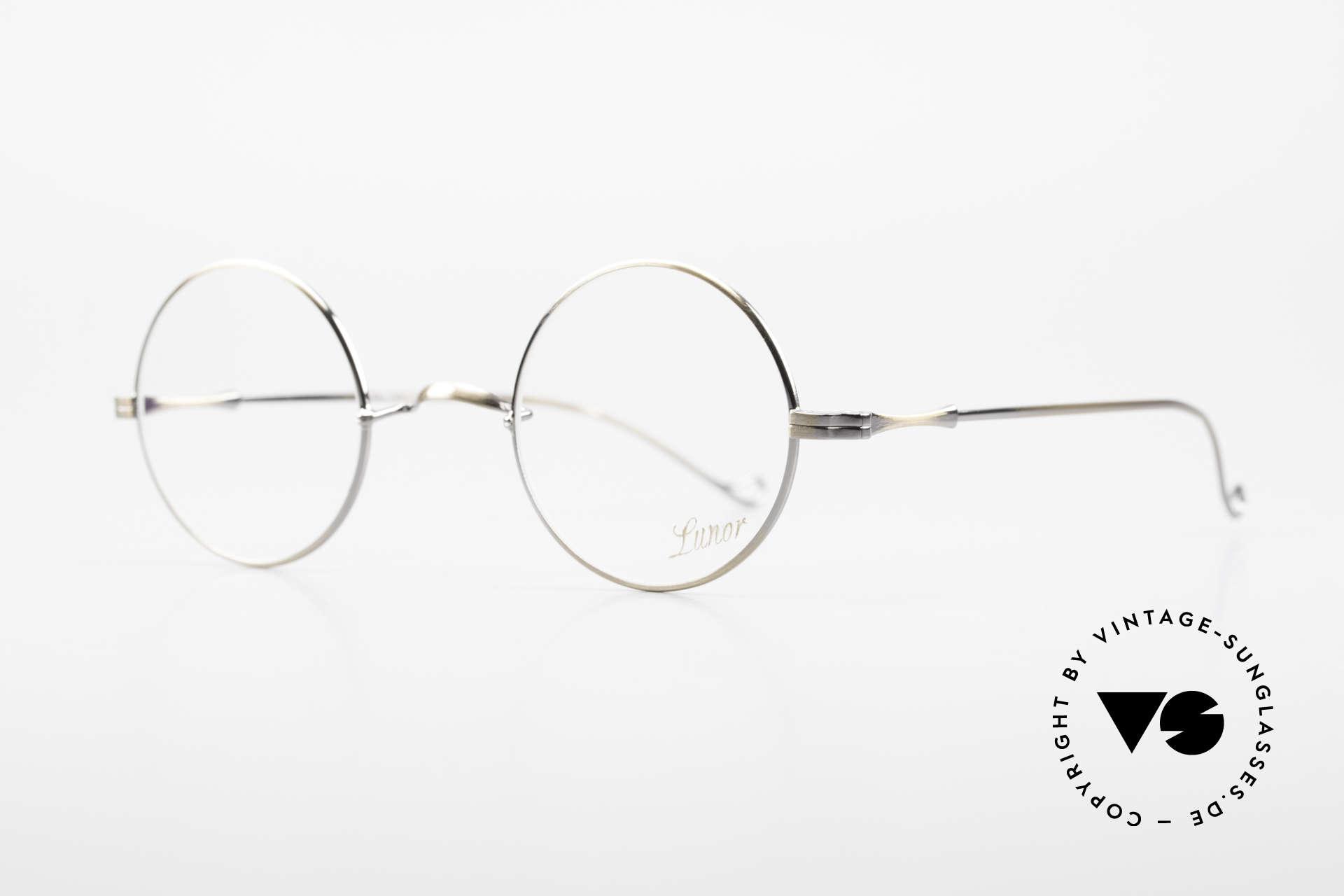 Lunor II 23 Runde Lunor Brille Antik Gold, kreisrunde Rahmenform (in M Gr. 42mm) mit W-Steg, Passend für Herren und Damen