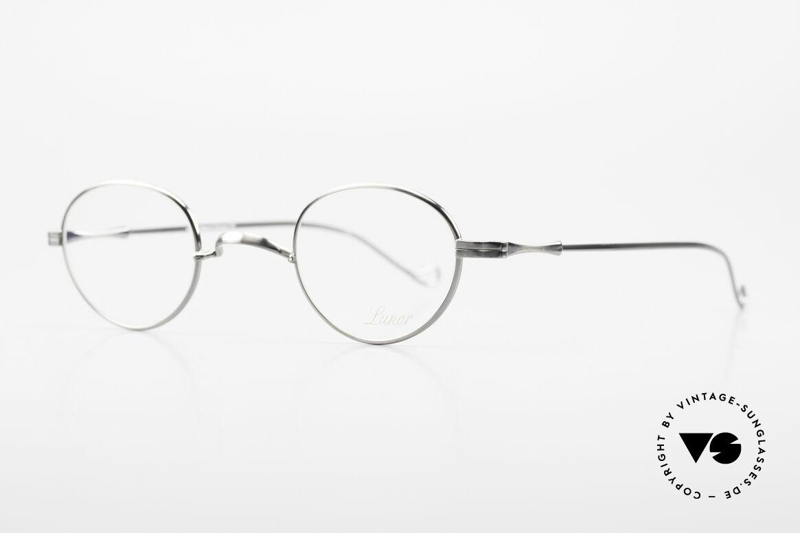 Lunor II 20 Lunor Brille Klein Unisex 90er, sehr schlichte Brille mit W-Steg in 'ANTIK-SILBER', Passend für Herren und Damen