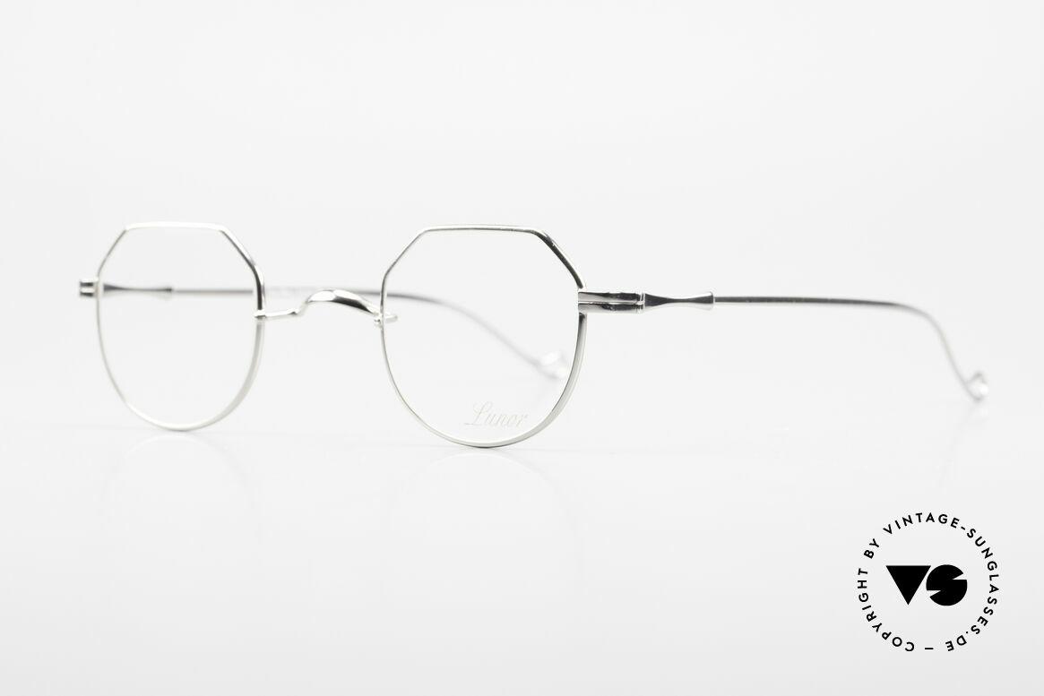 """Lunor II 18 Eckige Pantobrille Metall 90er, sehr interessante Brillenform in """"eckig Panto"""", Platin, Passend für Herren und Damen"""
