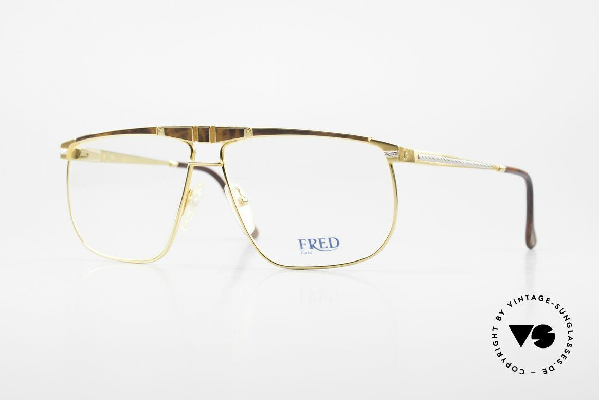 Fred Ocean Luxusbrille Herren Vergoldet, Fred Brille aus den 90ern, Modell Ocean in Gr. 61-12, Passend für Herren