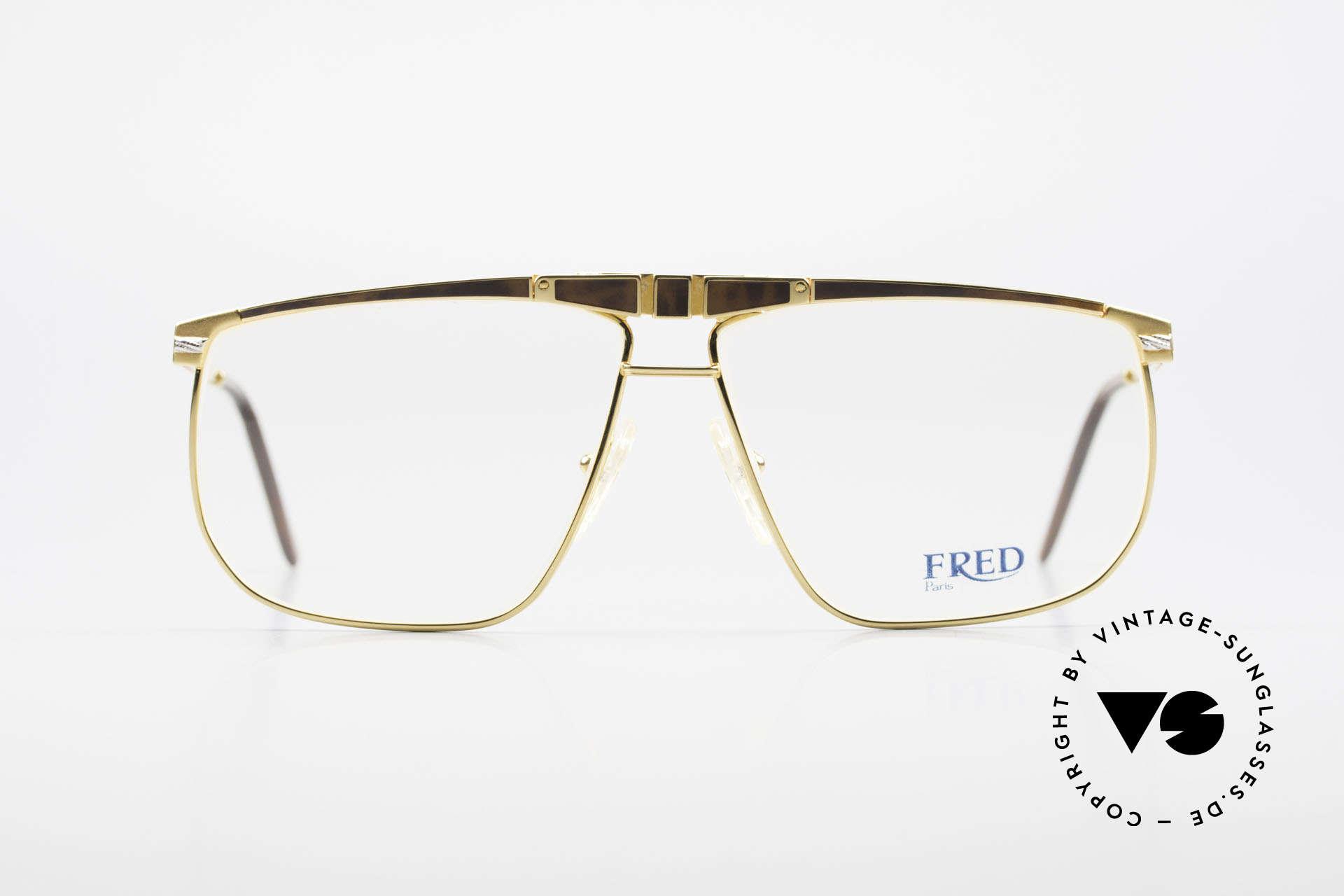 Fred Ocean Luxusbrille Herren Vergoldet, marines Design (charakteristisch Fred) in Top-Qualität, Passend für Herren